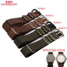 Duty quality Crazy Horse Leather Watchband adapter glue sea handmade leather watch band 22mm 24mm 26mm old NATO strap for men