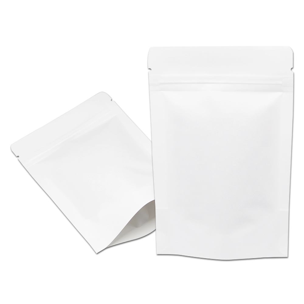 3.9x5.9 (10x15cm) Stand Up Zipper Zip Lock White Kraft Paper Packaging Package Bag for Food Coffee Tea Storage Doypack Pouch