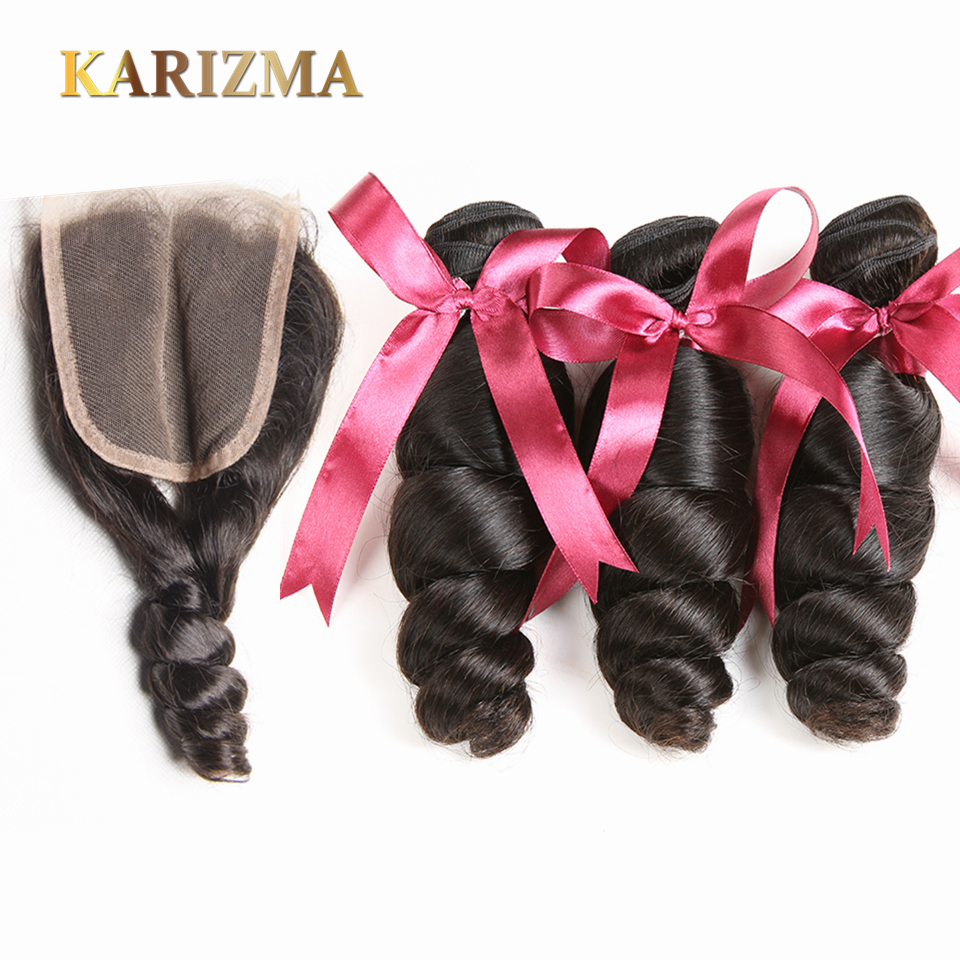 Karizma Hair Malaysian Hair Bundles With Closure 100g/pc Malaysian Loose Wave Human Hair Bundles With Closure Non Remy Hair Soft
