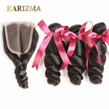 Karizma Hair Malaysian Hair Bundles With Closure 100g/pc Malaysian Loose Wave Human Hair Bundles With Closure Non Remy Hair Soft