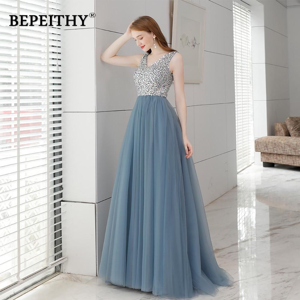Luxury Vintage Long Evening Dress Crystal Top Vestido Longo 2019 Floor Length Elegant Beaded Prom Dresses