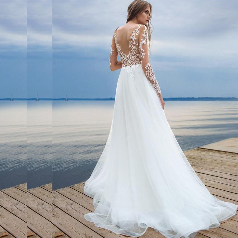 White Beach Wedding Dresses 2017 Long Sleeve Bride Dresses Lace