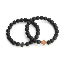 New Fashion Men's Bracelets Natural Lave Stone Beads Elastic Cross Hematite Beaded Charm Kors Bracelets for Girls Womens F3761