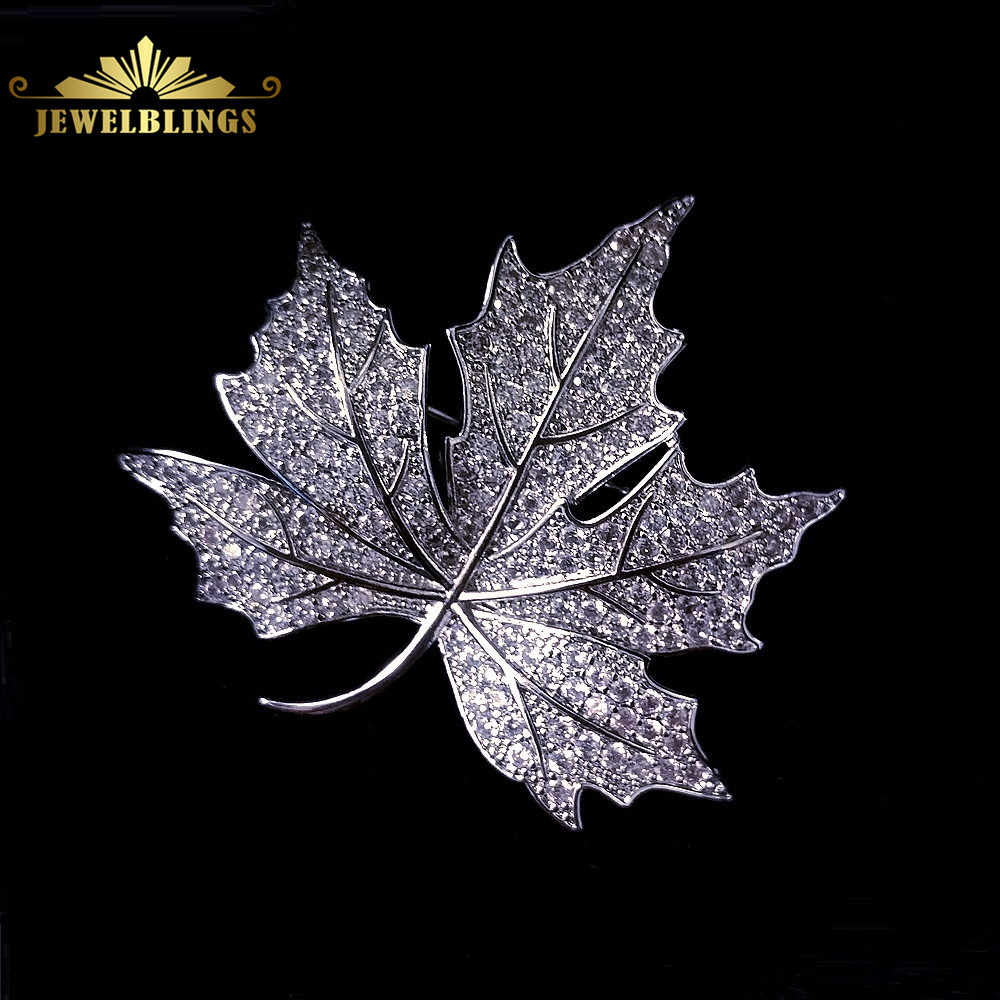 73118069b Queen Jewelry CZ Canadian Maple Leaf Brooches and Pins Silver Tone Micro  Pave CZ Victorian Style