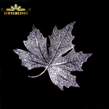 Queen Jewelry CZ Canadian Maple Leaf Brooches and Pins Silver Tone Micro Pave CZ Victorian Style Vintage Maple Broach for Mother