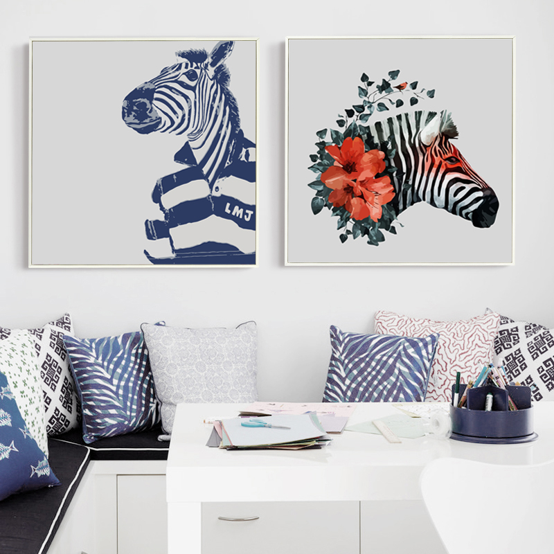 Popigist Simple Animal Fashion Zebra Portrait Canvas Art Painting Print Poster Picture Wall Living Room Bedroom Home Decoration