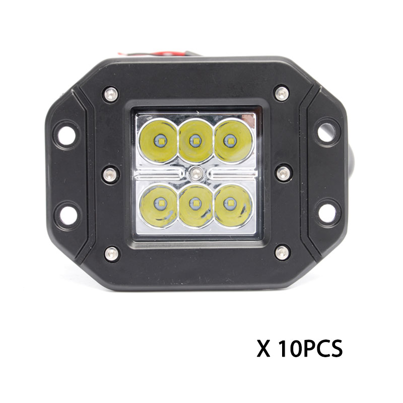 wholesale 10pcs-18W flush mount fog lamp cube pod 3x3 led work light Wrangler Rubicon pillar A lamp for offroad 4x4 ATV UTV