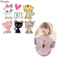 Prajna Cartoon Animals Cat Heat Transfers Dog Elephant Frog Patches For Clothing DIY Owls Thermal T-shirt Applique