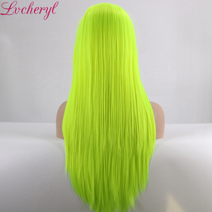 Image 5 - Lvcheryl Natural Long Silky Straight Neon Yellow Color Heat Resistant Synthetic Lace Front Wigs Cosplay Party Makeup Wigs