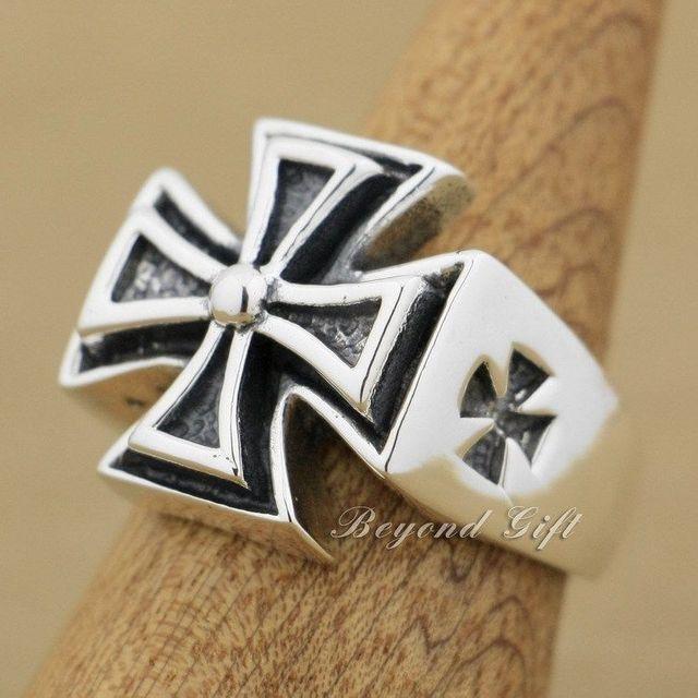 Huge Heavy 925 Sterling Silver Cross Mens Punk Biker Rocker Ring 9Q012
