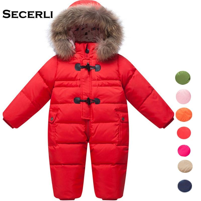 цена на Winter Baby Girls Boys Romper 12M 24M 36M Hooded Kids Snowsuit Windproof Warm Toddler Jumpsuit Baby Children Ski Suit Overalls