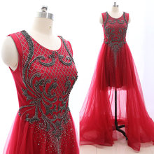 2f4abbe35aa MACloth Maroon Sweep Train Scoop Neck Floor-Length Long Crystal Tulle Prom Dresses  Dress M 265136 Clearance