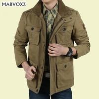 Plus Size 8XL Loose Men Jacket Long New 2015 Brand AFS Jeep 100 Nature Cotton Warm