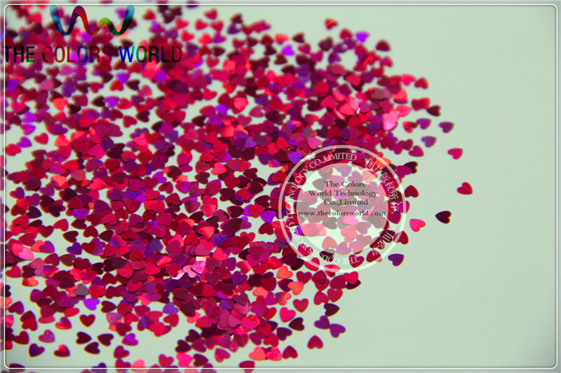 LM-92 Size 3 mm laser holographic Plum color Glitter paillette  Heart  shape spangles for Nail Art DIY supplies1pack=50g tcf510 solvent resistant neon rose carmine color mickey mouse shape spangles for nail polish and other diy decoration1pack 50g