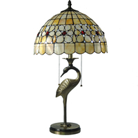 Tiffany Style Stained Glass Shade Table Lamp E26/E27 European Antique Copper Desk Light For Study Room Bedside Lighting TL157