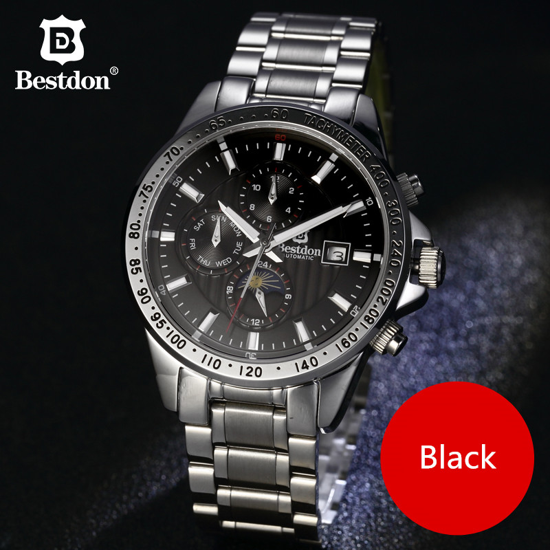 Bestdon Mens watches Automatic mechanical watch Moon Phase clock Full Steel Sport military wristwatch relojes hombre top brandBestdon Mens watches Automatic mechanical watch Moon Phase clock Full Steel Sport military wristwatch relojes hombre top brand