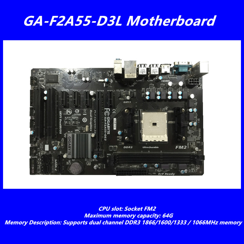 все цены на Used original F2A55-DS3 motherboard FOR Gigabyte GA-F2A55-DS3motherboard A55support dual-channel DDR3 1866/1600/1333/1066MHz ATX онлайн