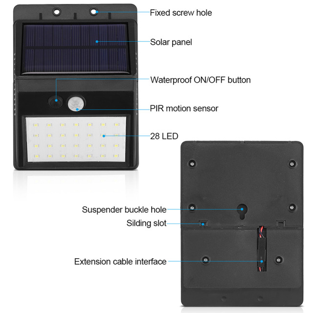 Detachable Solar 28 LED 3 Modes Motion Sensor Security Wall Light Garden Outdoor Lamp 2