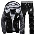 Winter Thick Inner Wool Hoodie Men Hat Casual Suit Men Zipper Active Suits For Men Outwear + Pants Plus Size 5XL,PA014