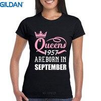 カスタムtシャツデザイン半袖グラフィック女性クイーンズは生まれた月に1957面白い周誕生日ギフト短いのスリー