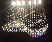 L100cm W20cm D100cm Modern Crystal Dining Ceiling Lamp Crystal Wave GU10 6pcs Chandelier Light