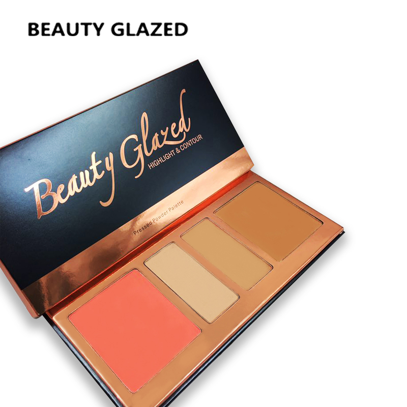 BEAUTY GLAZED Shimmer Glitter Bronzer Highlighter face Makeup Silky Blush Bronzer Powder Velvety Smooth Glow Cheek Color palette 2018 new focallure smooth glow cheek color blusher palette natural mineral makeup silky blush bronzer powder