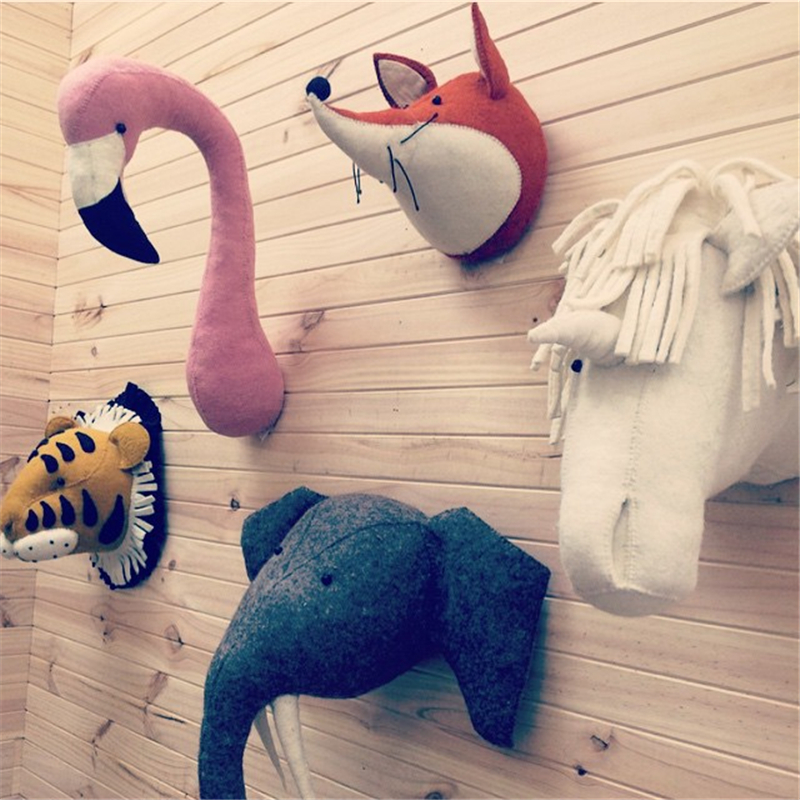 Animal Unicorn Elephant Flamingo Head Wall Mount Stuffed Plush Toys Bedroom Decoration felt Artwork Wall Dolls Photo Props