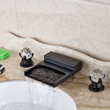 Newly Waterfall Spout Basin Sink Faucet Deck Mounted 3 Holes Oil Rubbed Bronze Finsihed
