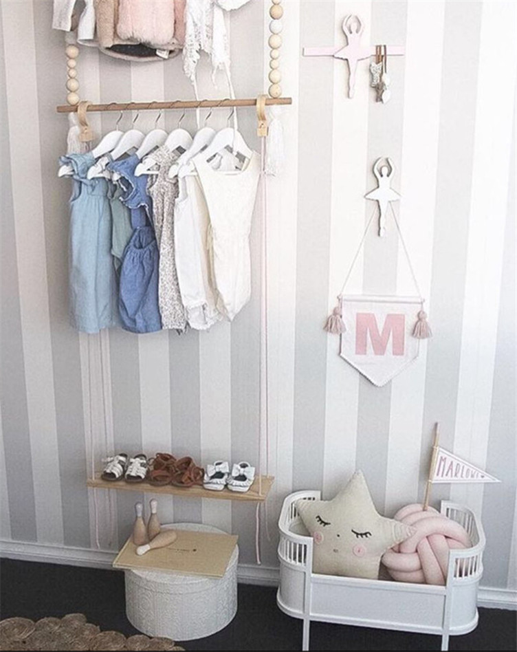 Ins Nordic Style Wooden Suspended Wood Simple Shelves Creative Shoe Racks Hanging Children Shoes Rack Home Handicraft Ornament In Organizers