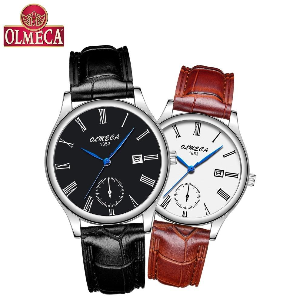 OLMECA Men's Watches Luxury Wristwatch For Men&Women 2018 Simple Fashion Quartz Watch Waterproof Calendar Date Thin&Slim Dial