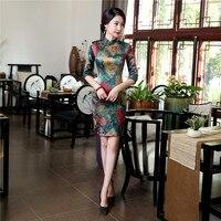 100 Real Silk Chinese Women Traditional Dress Short Mini Qipao High Quality Print Flowers Cheongsam Vintage