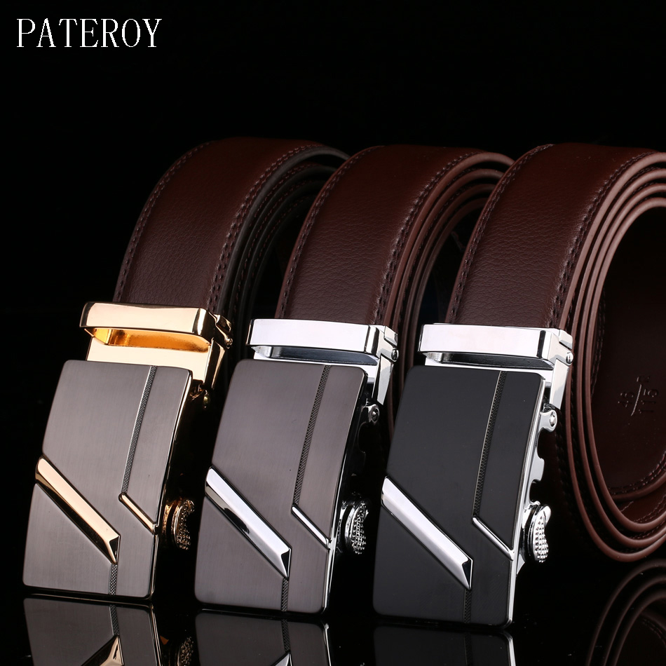PATEROY Men's   Belt   Male Waist   Belts   Genuine Leather Riem Cinturon Hombre Ceinture Homme Designer Cinto Masculino High Quality