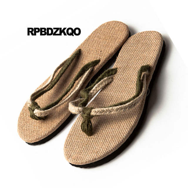 ddf0fc5a86c98 Rope Flip Flop Slippers Shoes Japanese Beach Nice Woven Slip On Espadrilles  Slides Mens Sandals 2018 Summer Outdoor Strap Casual