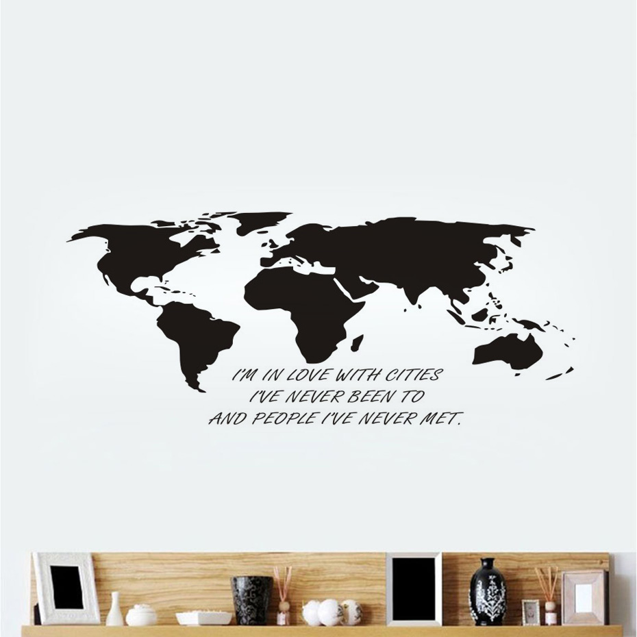 Im in love with cities creative world map wall sticker for kids im in love with cities creative world map wall sticker for kids room vinyl wall art decals poster living room home decoration in wall stickers from home amipublicfo Images