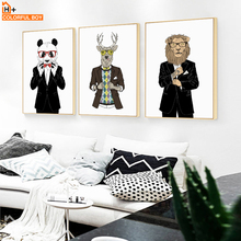 COLORFULBOY Panda Deer Lion Canvas Painting Fashion Nordic Posters Wall Art Prints Pictures For Living Room Decor