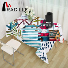 Miracille Cartoon Ocean Sea Painted Dustproof Table Cloth Dining Coffee Decor Marine Table Cover for Restaurant Kitchen Wedding(China)
