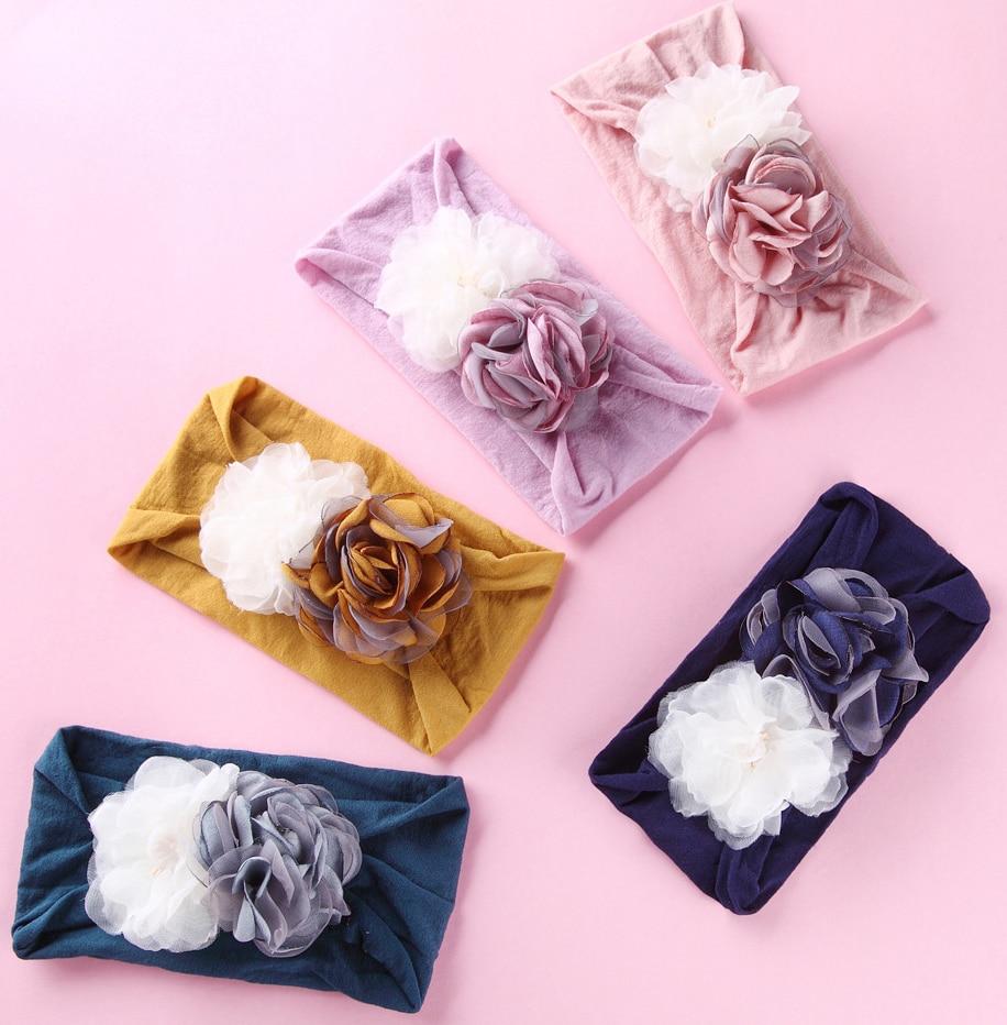 20pc lot 2019 New Wide Nylon Headband Satin Burning Flower Turban Headband Nylon Fabric Headwraps Kids