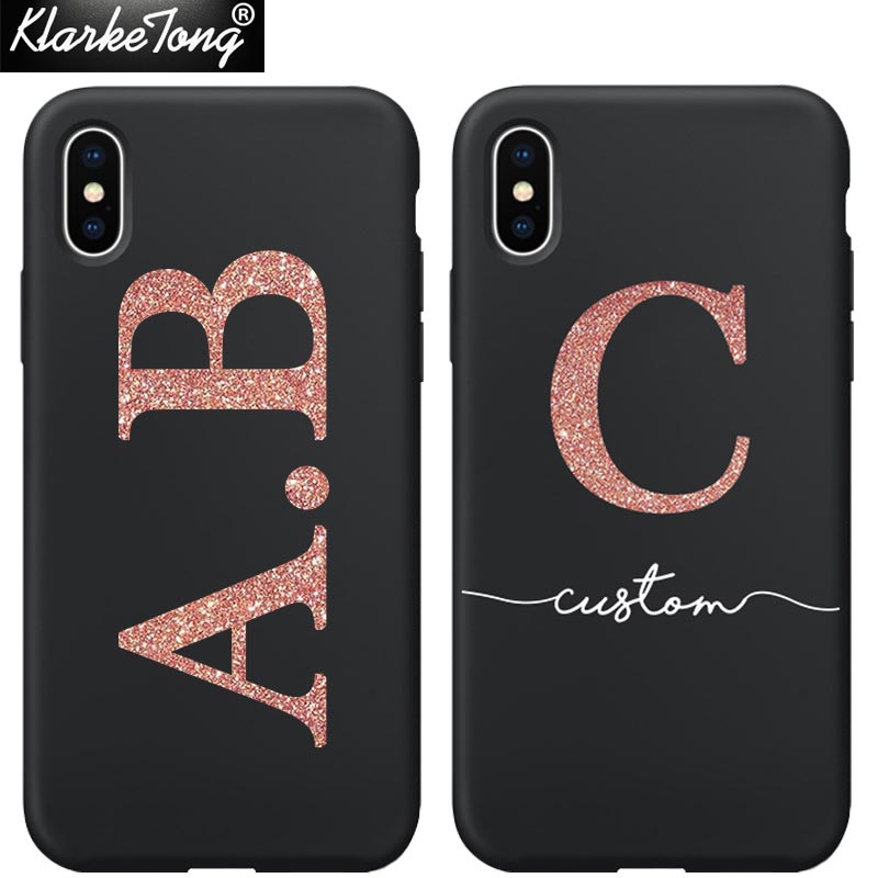 online retailer 1ded6 669f8 Personalised Name Custom Phone Case For iPhone Xs MAX XR 8 7 6 Plus 5 5s  Glitter Words Design Soft ...