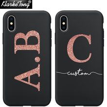 Personalised Name Custom Phone Case For iPhone Xs MAX XR 8 7 6 Plus 5 5s Glitter Words Design Soft Black Silicone Cover