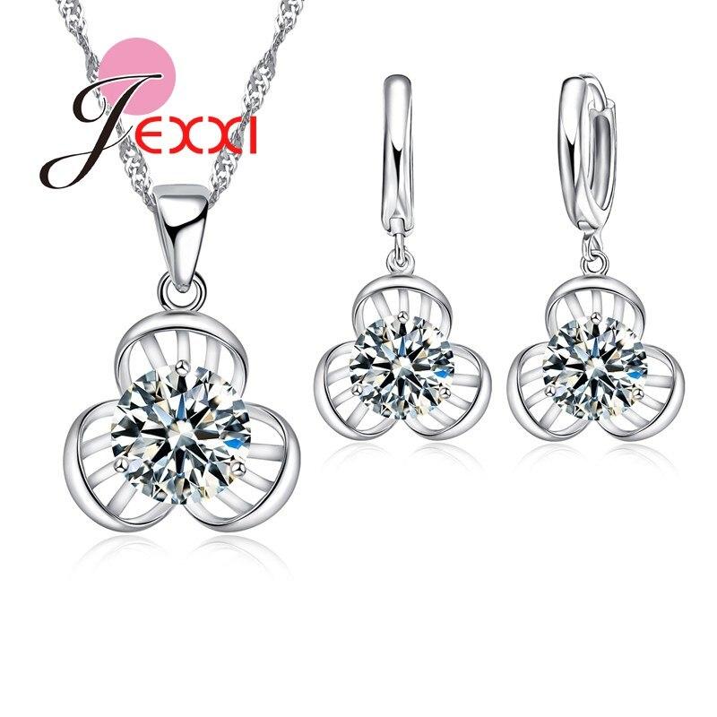 JEXXI Fashion Flower Shape Big Clear Crystal Necklace Earrings Jewelry Set Women Beautiful Wedding Accessory Bridal Gifts