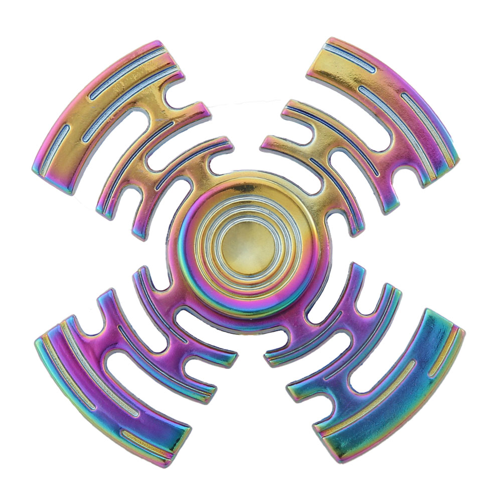 New Style Rainbow Multicolor Maze Metal Finger Spinner Four-leaf Spinner Stress Wheel Four Spinner Fidget Toy
