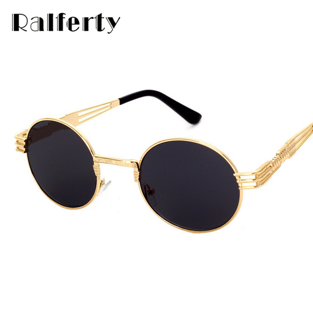 0a2d0051e9 Ralferty Hipster Vintage Steampunk Sunglasses Men Retro Steam Punk Gothic Sun  Glasses Women Gold Metal Round Shades UV400 oculos