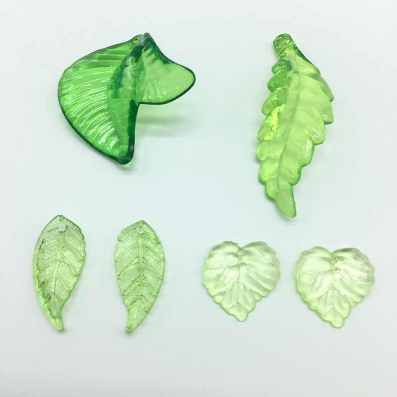 Meideheng Green Leaves Perler Akryl Transparent DIY Perler For Smykker Making Handmade Crafts Tilbehør 4 Shapes For Choose