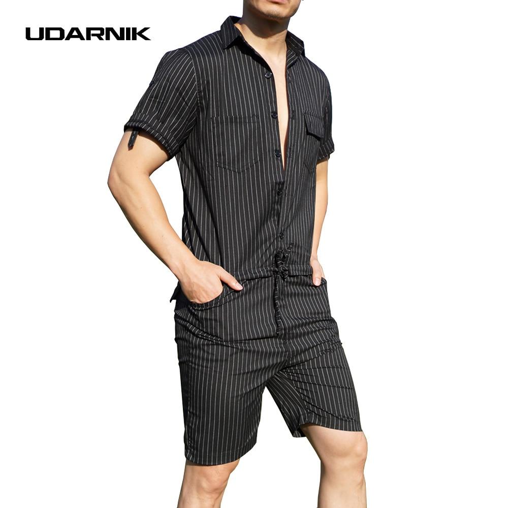 UDARNIK Men Jumpsuit Pants Short Sleeve Slim Striped Summer Bodysuit Rompers Casual Playsuit Overalls One Piece