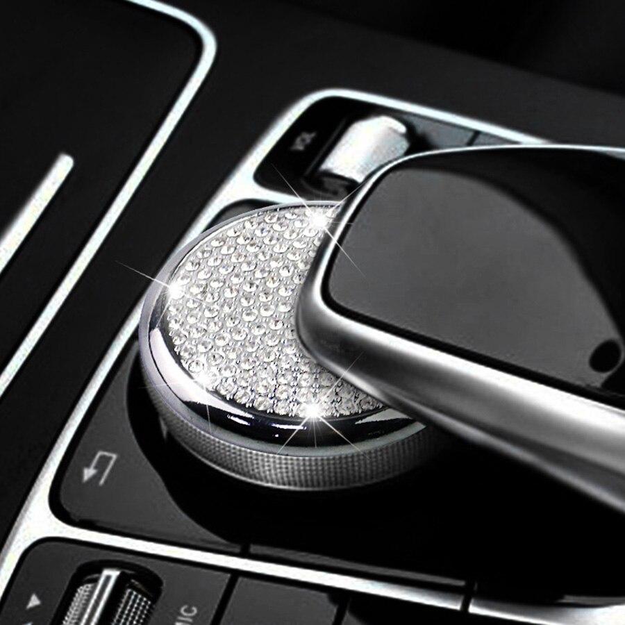 Estilo de Cristal Multimedia Botão Botão de Ajuste da Guarnição Da Tampa para Mercedes Benz Classe C W205 GLC200 X253 Classe E W213 E300L e200L