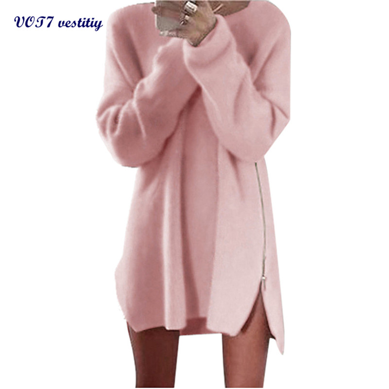 2019 Sexy Women Batwing Dress Vot7 Vestitiy Autumn Winter Women Side Zip Knitted Cardigans Baggy Sweater Jumper Tops S Jua 3 Dresses