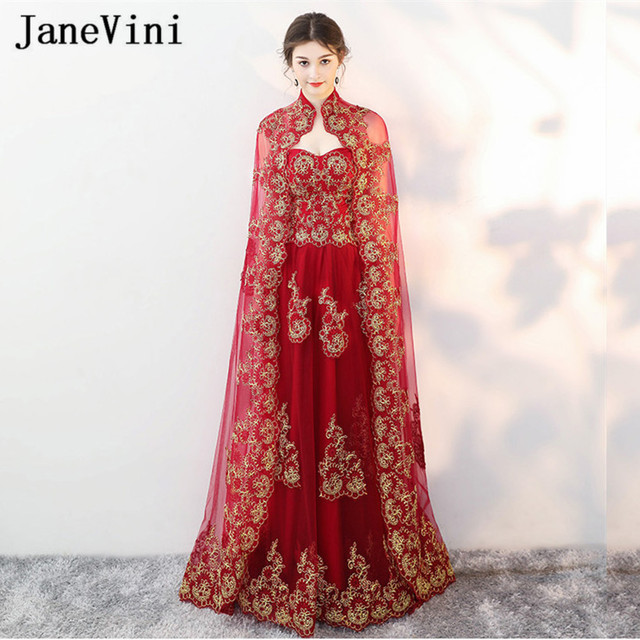 db9b6f7acb US $164.4 40% OFF JaneVini Arabic Burgundy Bridesmaid Dresses with Cape  Gold Lace Dubai Long Gowns for Women Wedding Party Dress Robe De Marier-in  ...
