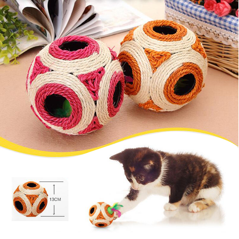 2016 New Pet Cat Puzzle Interactive Games Cats Sisal Toy Cat-scratch Hemp Claws Grinding Molar Ball ...