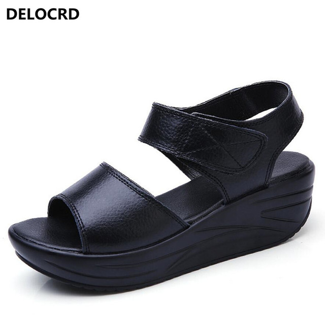 7a88a8b56 2018 New Summer Women's Sandals Leather Platform Sandals Women's Fashion  Casual Shoes Tooth Sandals Leather Slippers Footwear