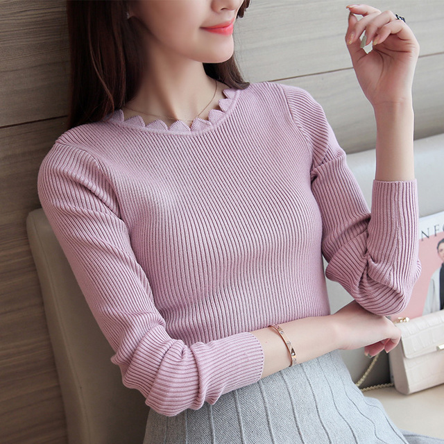 2017 new winter sweater female solid color petal collar hedging short paragraph bottoming Slim wild thin long-sleeved knit